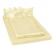 tectake Blankt satinbäddset 200x150 cm 6-delars gul