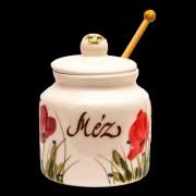 V.K.43-30-02 Tele virágos méztartó nagy csurgatóval,pipacs,kerámia,kézzel festett