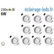 Kit 10 Spots LED GU10 Blanc Naturel encastrable blanc orientable Perçage 70mm Ref Kgu10-11