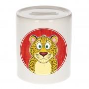 Bellatio Decorations Spaarpot met luipaarden print voor kids 9 cm