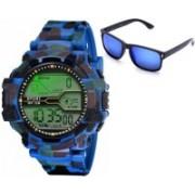 Fancy Digital Watch, Wrap-around Sunglass Combo(Multicolor)