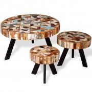 vidaXL Set masă de cafea din lemn masiv reciclat, 3 buc.