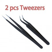 Generic RC Tool New 2 PCS Antistatic Electroplating Nonmagnetic Stainless Steel Curved Straight Tweezers Nail Art DIY Necessary Tools