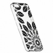 Husa Silicon Transparent Slim Black Flower Apple iPhone 5 5S SE