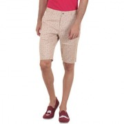 Routeen Beige Cotton Printed Shorts and 3/4ths for Men