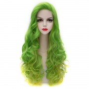 rosegal Attractive Long Green Golden Gradient Fluffy Wavy Synthetic Party Wig For Women