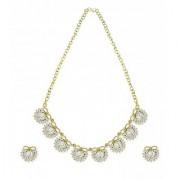 Zaveri Pearls Stylish Bow Pattern Pearl and Austrain diamond Necklace Set - ZPFK5360