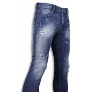 Black Ace Basic Jeans - Blue Damaged Regular Fit - Blauw