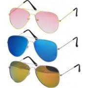 Freny Exim Aviator Sunglasses(Pink, Blue, Golden)