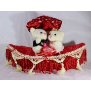 Valentine Cute Teddy Couple On A Beautifully Decorated Plush Boat