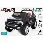 Mașinuță electrică pentru copii de lux Ride-on Ford Ranger Wildtrak, 4x4 LCD, ecran LCD, vopsită, 2.4 Ghz, 2x12V/7ah, 4x Motoare, telecomandă, două scaune din piele, roți ușoare Eva, Bluetooth, Negru