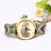 Handmade (Hathi) Braided Friendship Bracelet New Arrival Geneva Hand-woven Quartz Gold Women WristwatchGIRLS