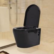 vidaXL Окачена тоалетна чиния, керамична, черна