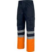 Pantalón C4014 Refuerzo de culera, recto y multibolsillos. Alta visibilidad. Workteam