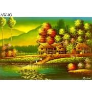 Original Painting Thai Art- Fishing Village Riverside scene Asian Art