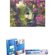 Crafterman™ Diamond Painting Pakket Volwassenen - Vogels met bloemen en vogelhuisje - 30x40cm - volledige bedekking - vierkante steentjes - 33 verschillende kleuren - hobby pakket - Met tijdelijk 2 E-Books