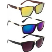 NuVew Rectangular, Wayfarer Sunglasses(Blue, Grey, Golden, Green, Violet)