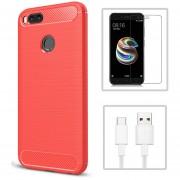 Funda Xiaomi Mi A1 + Cristal Templado + CABLE, Funda Uso TPU - Rojo