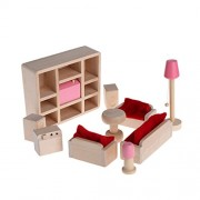 Hunulu Hunulu Miniature House Living Room Family Children Wooden Furniture Doll Set Kit Toys Accessories