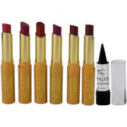 ADS Glossy Shine Lipstick Pack of 6 And Free Kajal-GPTGP-A4