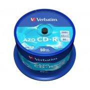 CD-R lemez, Crystal bevonat, AZO, 700MB, 52x, hengeren VERBATIM DataLife Plus (CDV7052B50)