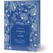 Optimalprint Vigselprogram, glansigt papper, standard-kuvert, 1 st, bud, blommor, löv, blå, vit, klassiskt, A5, vikt, Optimalprint