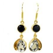 Riyo Black Onyx Green Amethyst 18.Kt Base Matel Fashion Earrings L 1.5in Gpemul-52014