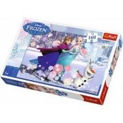 Puzzle clasic pentru copii - Frozen Regatul de Gheata Ana si Elsa pe patine 160 piese