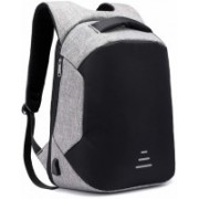 Servomate Anti Theft Backpack with USB Charging Port 15.6 Inch to 17 Inch Laptop Bagpack Waterproof Casual Unisex Bag for School College Office Suitable for Men Women Grey 35 L Laptop Backpack(Black)