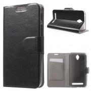 Notesz tok / flip tok - FEKETE - asztali tartó funkciós, oldalra nyíló, rejtett mágneses záródás, bankkártya tartó - ASUS Zenfone Go (ZC450TG)