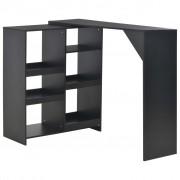 vidaXL Бар маса с подвижен рафт, черна, 138x40x120 см