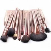 Set 24 pensule machiaj Cosmetic Par Natural- Make-up Profesional Gold + Trusa Machiaj + Burete Machiaj Cadou