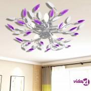 vidaXL Stropna Svjetiljka s Ljubičastim i Bijelim Akrilnim Listićima za 5 Žarulja E14
