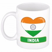 Bellatio Decorations Indische vlag hartje theebeker 300 ml