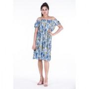 Dhruvi's Western Wear Knee Long Midi Dress in Elegant Print & Design (Blue Free Size)