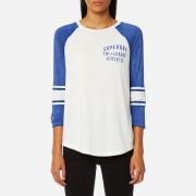 Superdry Women's Tri League Baseball Top - Off White/Dazzle Blue - XS - Blue