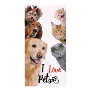 TOALHA AVELUDADA I LOVE PETS 61389 - LEPPER - BEGE