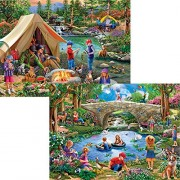 Bits and Pieces - Set of Two (2) 300 Piece Jigsaw Puzzles for Adults - Camping at Summers End, End of Summer - 300 pc Children by the Lake Jigsaws by Artist Mary Thompson