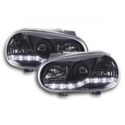 FK-Automotive fari Daylight a LED con DRL look VW Golf 4 tipo 1J anno di costr. 98-03 neri