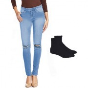 Fuego Fashion Wear Light Blue Knee Cut Jeans With Assorted Socks For Women