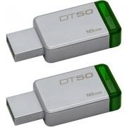 Kingston DT50 DataTraveler 50 - Combo of Two 16GB Pendrive - USB 3.1/3.0/2.0 16 GB Pen Drive (Silver)