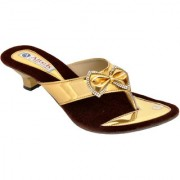 Altek Shiny Patent Gold Heel Sandal for Women (foot-1371-gold-p210)