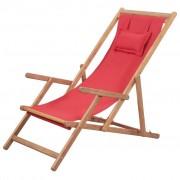vidaXL Cadeira de praia dobrável tecido estrutura de madeira vermelho