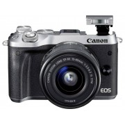 Systeemcamera Canon EOS M6 Incl. EF-M 15-45 mm IS STM 24.2 Mpix Zilver WiFi, Bluetooth, Full-HD video-opname