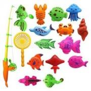 Alcoa Prime 15Pcs Fishing Toy Magnetic Fish Game Fish Model Play Set Preschool Kid Gift
