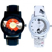 Winter Mount Themes And White Peacock Feathers Couple Casual Analogue Wrist Watch By Taj Avenue