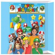 """Amscan Super Mario Happy Birthday Giant Scene Setters Wall Decorating Kit Party Backdrop, 5 Pieces, Made from Vinyl, Multicolor, 59"""" x 65"""