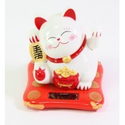 Small White Happy Beckoning Fortune Happy Cat Maneki Neko Solar Toy Home Decor Business Part Gift ~We Pay Your Sales Tax