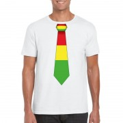 Bellatio Decorations Wit t-shirt met Limburgse vlag stropdas voor heren