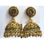 Golden Round Stone Drop Jhumka Earring